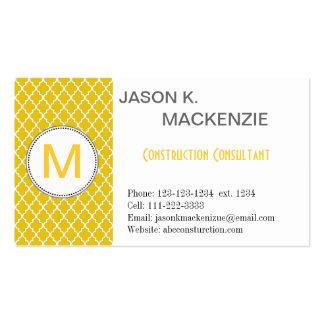 Elegant, modern sunny yellow quatrefoil   monogram business card