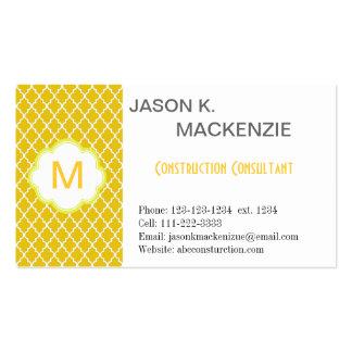 Elegant, modern sunny yellow quatrefoil   monogram business card template