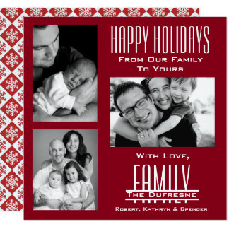 Elegant & Modern Three Photo Red Christmas Card
