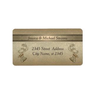 Elegant modern trendy gold holiday reindeer address label