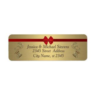 Elegant modern trendy gold holiday reindeer return address label