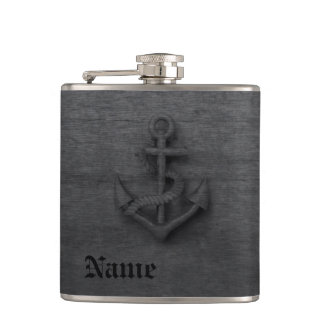 Elegant modern vintage anchor nautical hip flask