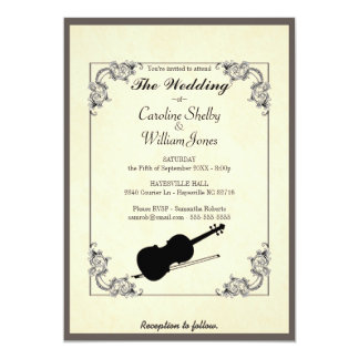 Elegant Modern Violin Wedding Invitation