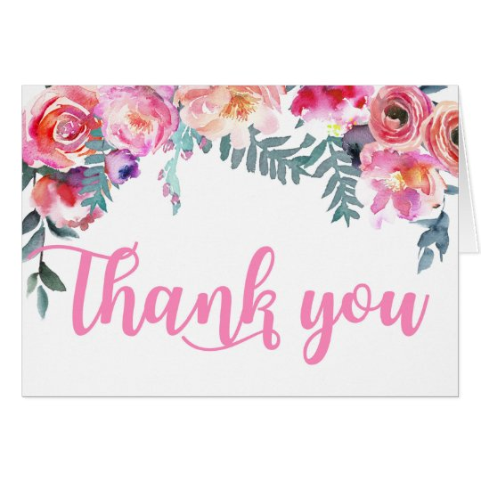 Elegant Modern Watercolor Florals Thank You Card
