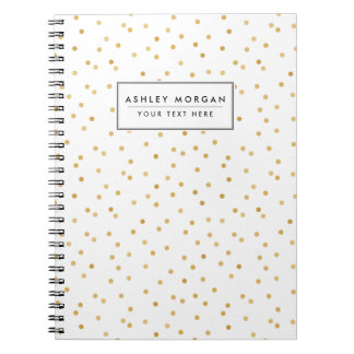 Elegant Modern White and Gold Confetti Dots Notebook