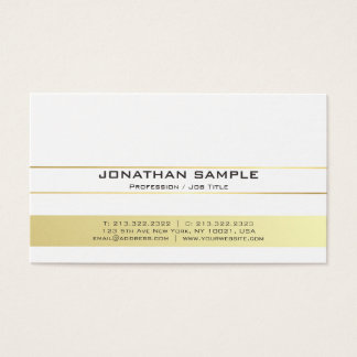 Elegant Modern White and Gold Professional Matte Business Card