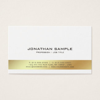 Elegant Modern White and Gold Professional Plain Business Card