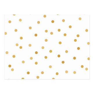 Elegant Modern White Gold Confetti Dots Postcard