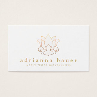 Elegant Modern White Lotus Flower Business Card