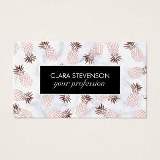 elegant modern white marble rose gold pineapple business card