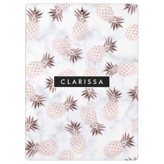 elegant modern white marble rose gold pineapple clipboard