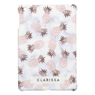 elegant modern white marble rose gold pineapple cover for the iPad mini