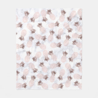 elegant modern white marble rose gold pineapple fleece blanket