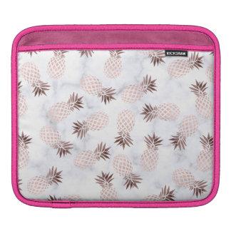 elegant modern white marble rose gold pineapple iPad sleeve