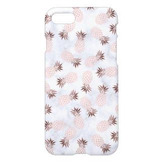 elegant modern white marble rose gold pineapple iPhone 8/7 case