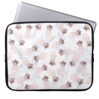 elegant modern white marble rose gold pineapple laptop sleeve