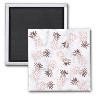 elegant modern white marble rose gold pineapple magnet
