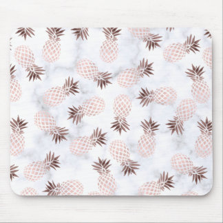 elegant modern white marble rose gold pineapple mouse pad