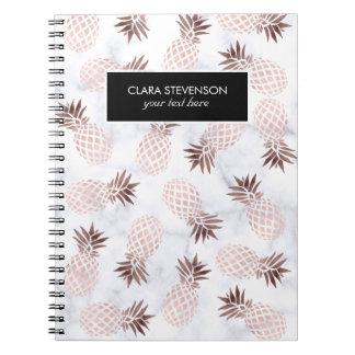 elegant modern white marble rose gold pineapple notebooks