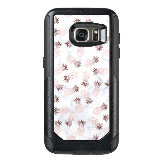 elegant modern white marble rose gold pineapple OtterBox samsung galaxy s7 case