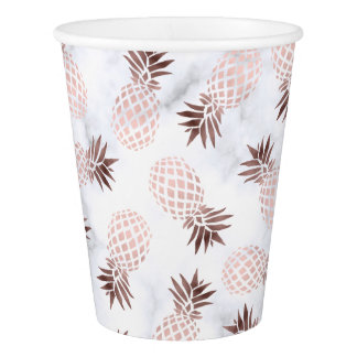 elegant modern white marble rose gold pineapple paper cup