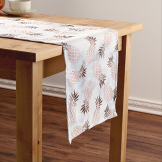 elegant modern white marble rose gold pineapple short table runner