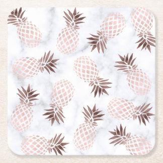 elegant modern white marble rose gold pineapple square paper coaster