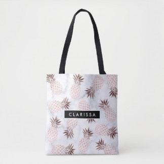 elegant modern white marble rose gold pineapple tote bag