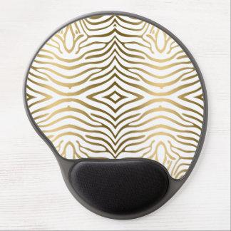 Elegant Modern Whiten & Gold Zebra Stripes Gel Mouse Pad