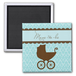Elegant Mom to Be Carriage and Blue Damask Magnet