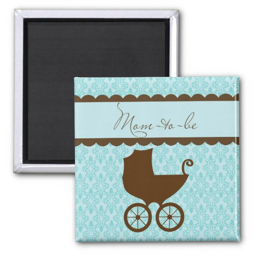 Elegant Mom to Be Carriage and Blue Damask Fridge Magnets