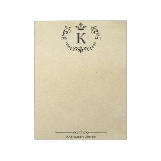 Elegant Monogram and Name | Custom Vintage Paper Notepad