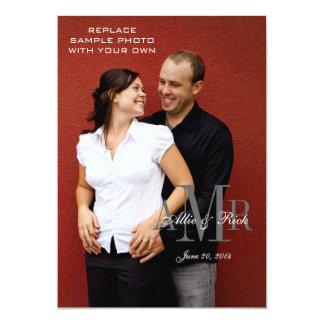"Elegant Monogram and Photo Wedding Invitations 5"" X 7"" Invitation Card"