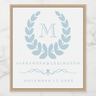 Elegant Monogram Beach Wedding Wine Bottle Label