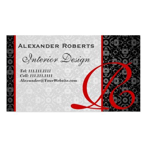 Elegant Monogram Black and Gold Damask Business Card Template