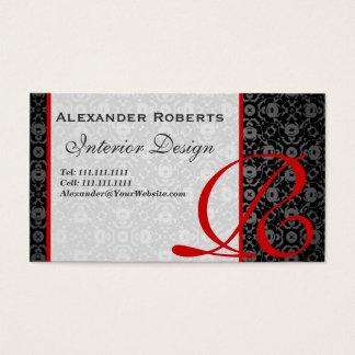Elegant Monogram Black and Gold Damask Business Card