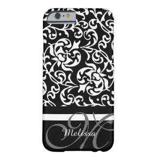 Elegant Monogram Black and White Damask Barely There iPhone 6 Case
