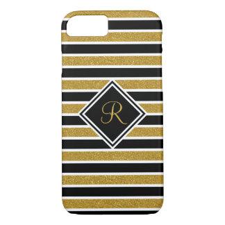 Elegant Monogram, Black White Gold Glitter Stripes iPhone 8/7 Case
