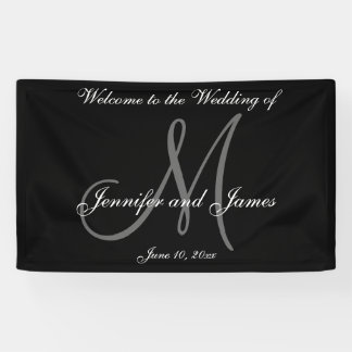 Elegant Monogram Black White Wedding Banner