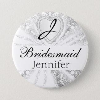 Elegant Monogram Bridal Party White Satin Design 7.5 Cm Round Badge
