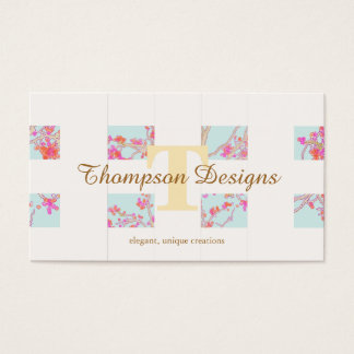 Elegant Monogram Cherry Blossom Unique Girly 2 Business Card