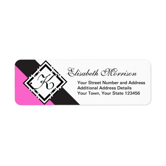 Elegant Monogram Chic Custom Black and Hot Pink Return Address Label