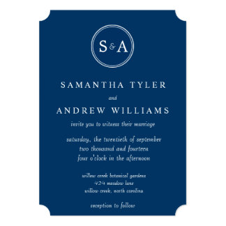Elegant Monogram Circle Navy Blue Wedding Card