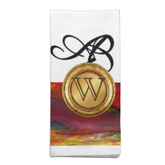 Elegant Monogram Colorful Abstract Art Burgundy Napkin