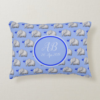 Elegant Monogram Cute Baby Boy Elephants Nursery Decorative Cushion