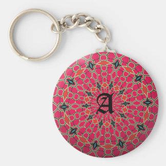 Elegant Monogram Dark Pink Mosaic Circle Key Ring