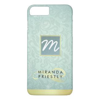 Elegant Monogram Faux Gold Turquoise Damask Floral iPhone 7 Plus Case