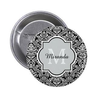 Elegant Monogram Feminine Black Damask With Name 6 Cm Round Badge