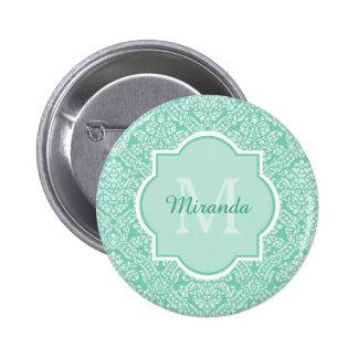 Elegant Monogram Feminine Mint Damask With Name 6 Cm Round Badge