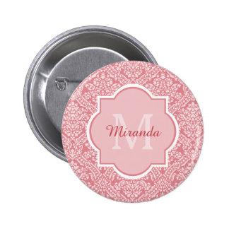 Elegant Monogram Feminine Pink Damask With Name 6 Cm Round Badge